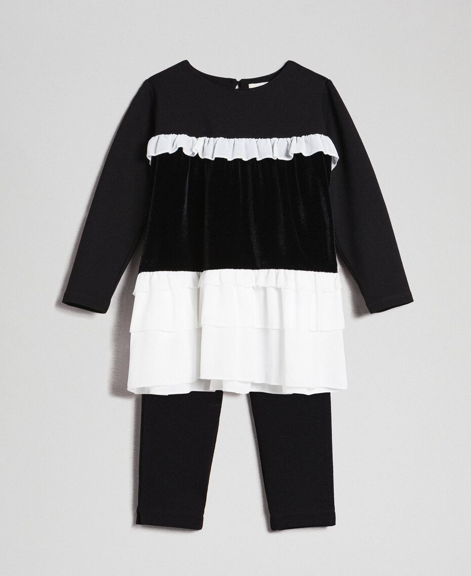 Flounce blouse and leggings Two-tone Black / White Child 192GB2270-01