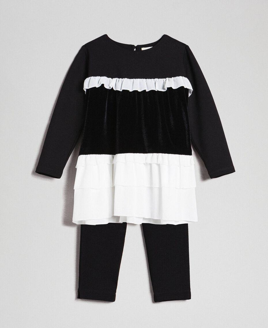 Blouse avec volants et legging Bicolore Noir / Blanc Enfant 192GB2270-01