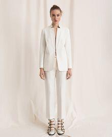 Pantalon cigarette en lin mélangé Blanc Neige Femme 201TP2256-0T