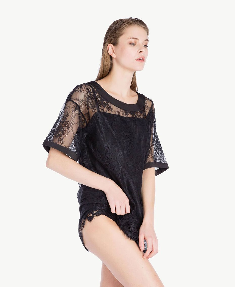 Maxi T-shirt pizzo Nero Donna LS8FFF-03