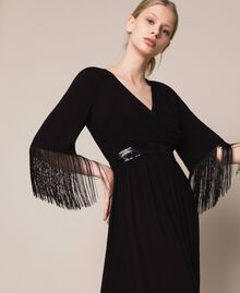 Midi dress with fringes Black Woman 201LB2CKK-01