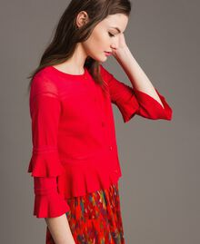 "Crêpe yarn flounced cardigan ""Lipstick Red"" Woman 191TT3020-02"