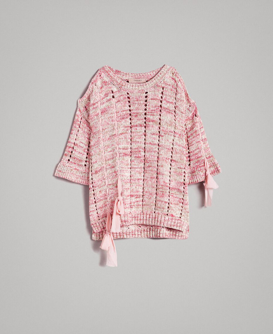 Openwork top with ribbons Multicolour Pink Pattern Woman 191TP3281-0S
