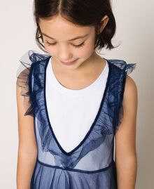 """Full-length tulle gown with ruffle Two-tone Night Blue / """"Papers"""" White Child 201GJ2Q50-05"""