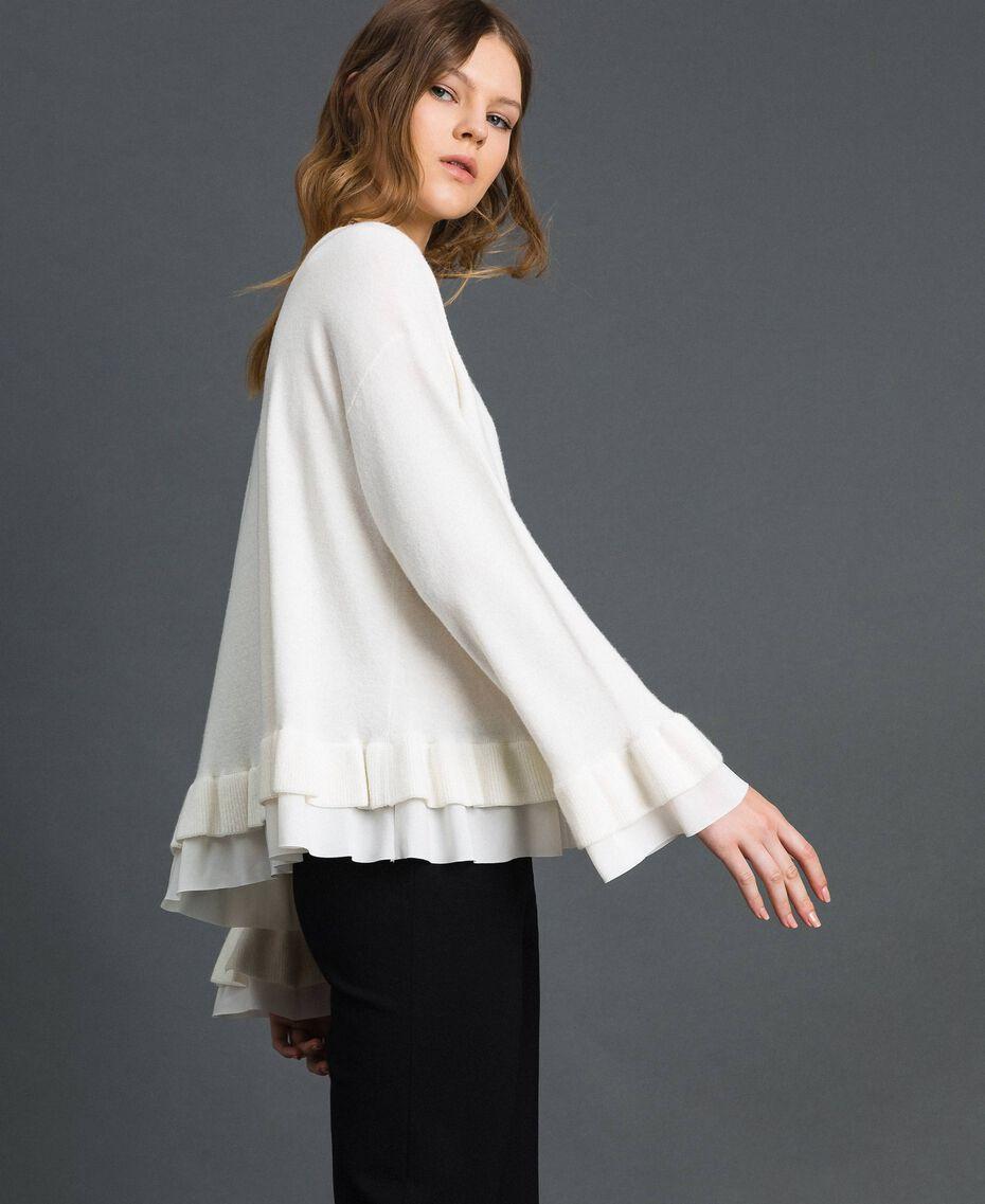 Pull en laine et cachemire Blanc Neige Femme 192TP3214-02