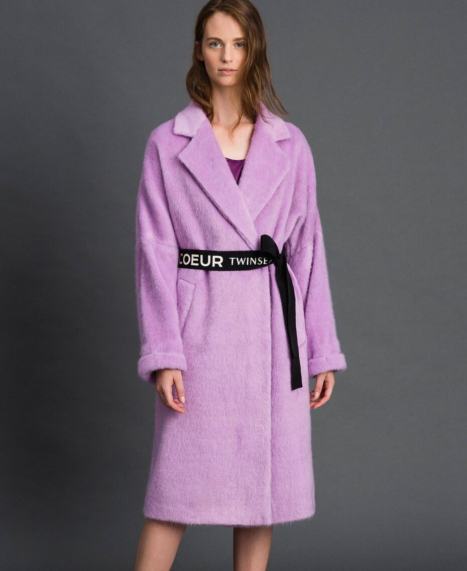 "Double breasted coat with lapels and belt ""Wisteria"" Purple Woman 192ST2180-02"