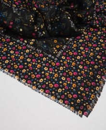 Micro-flower print kefiah with logo Black Mix Floral Print Woman 192MA432D-02