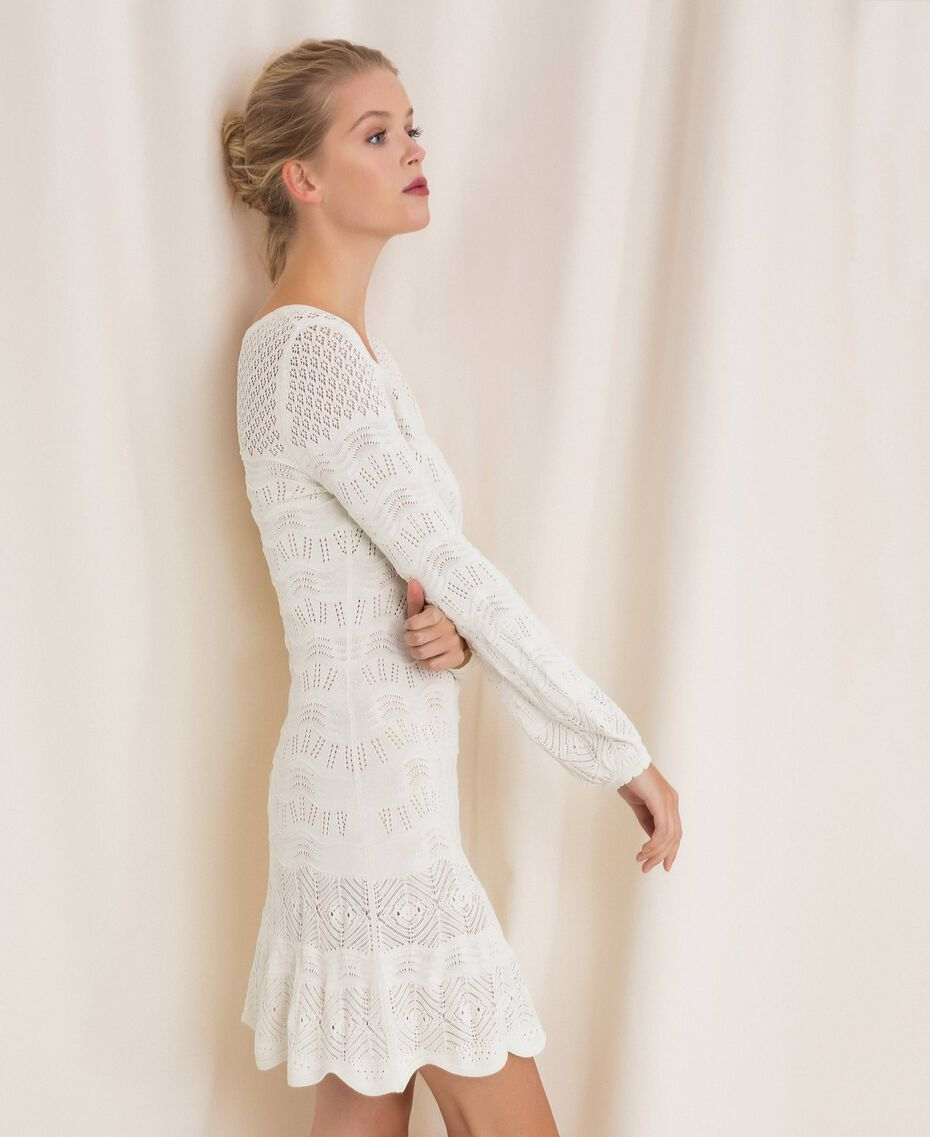 Lace effect knit dress White Snow Woman 201TP3210-01