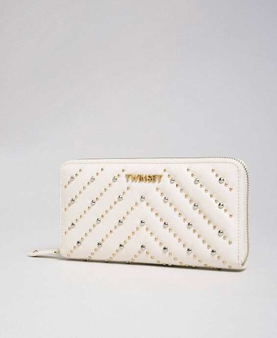 Leather wallet with studs