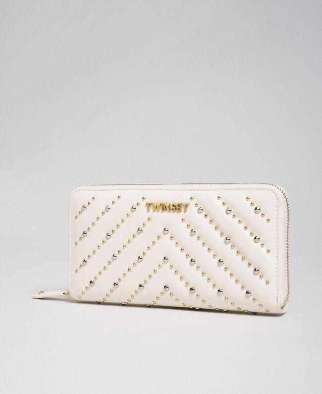 Portefeuille en cuir avec clous Blanc Papyrus Femme 192TA7113-01