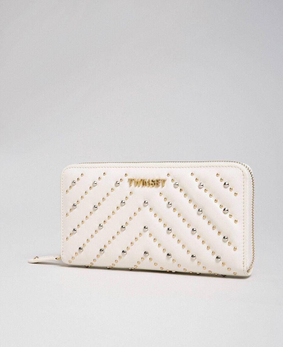 Portafoglio in pelle con borchie Bianco Papiro Donna 192TA7113-01