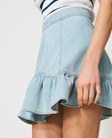 Denim miniskirt with flounce Light Denim Woman 211TT2375-04