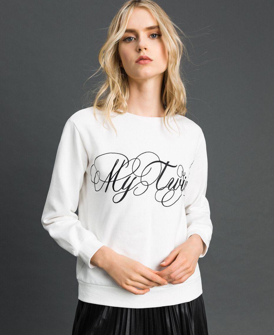 Felpa con logo ricamato Bianco Vaniglia Donna 192MT2302-02