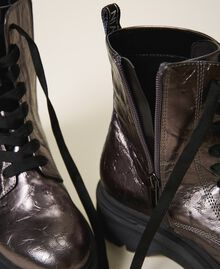 Laminated faux leather combat boots with logo Laminated Anthracite Woman 202MCP082-04
