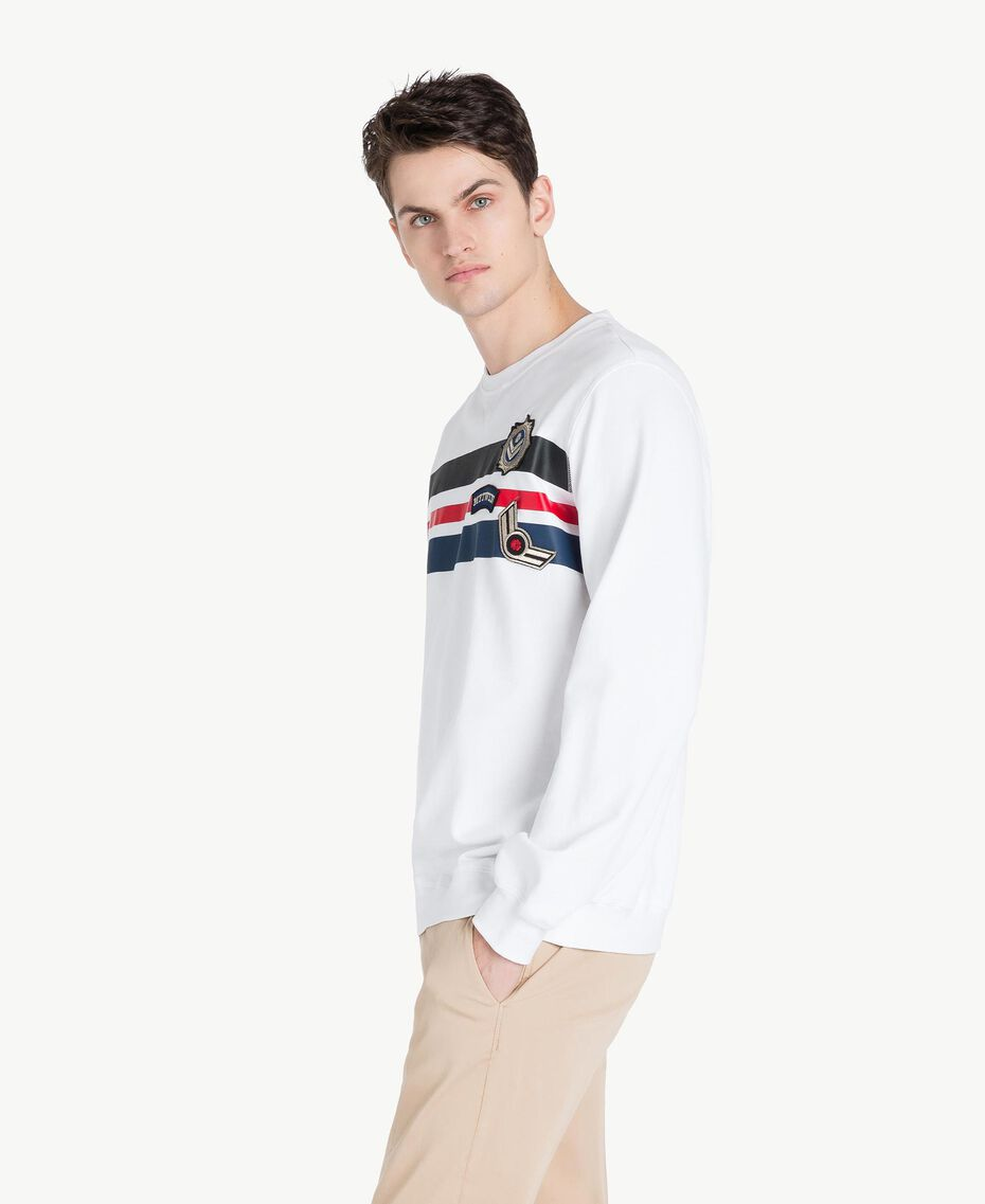Sweat-shirt rayures Blanc Opaque Homme US821P-02