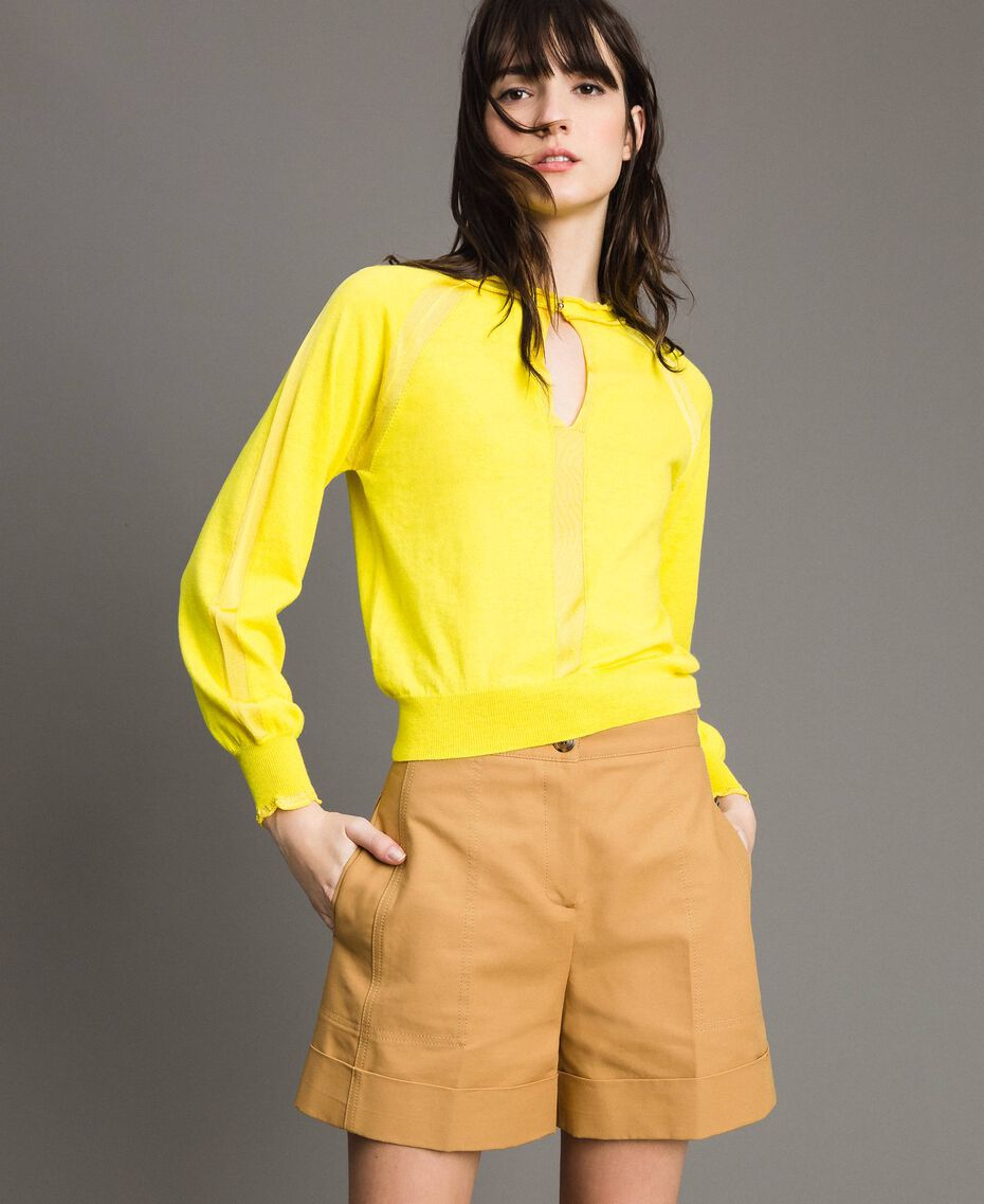 Cashmere mix top Yellow Woman 191TP3060-01
