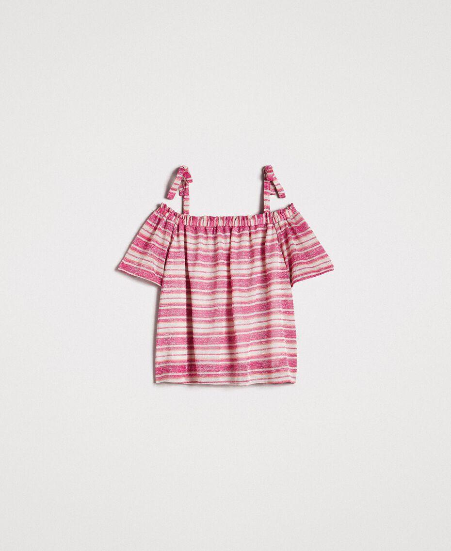 """Bluse mit Lurexstreifen und Schleifchen Streifen Multicolour Pink / """"Tangerine Cream"""" Pink Frau 191LB2AKK-0S"""
