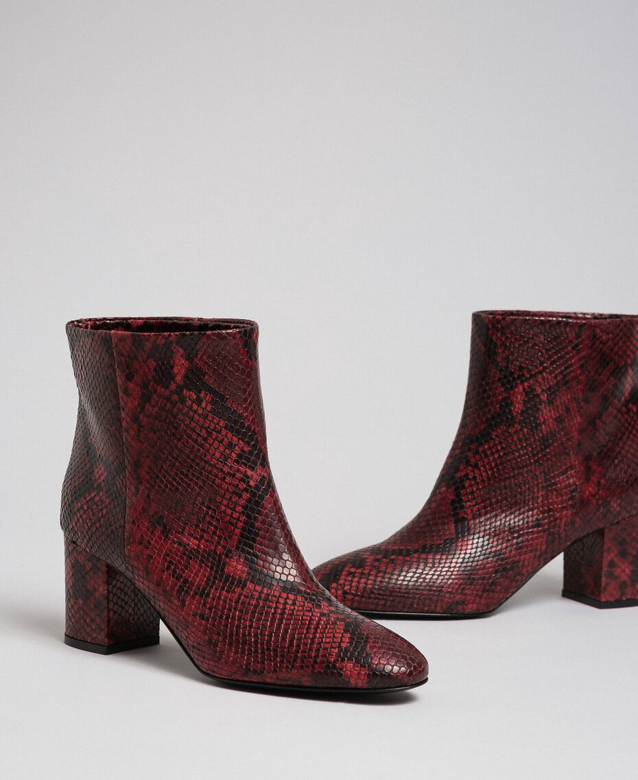 Leather ankle boots with animal print Beet Red Python Print Woman 192TCP12Q-01