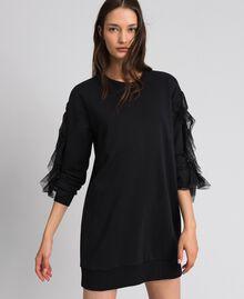 Plush dress with tulle flounce Black Woman 192LI2TCC-01