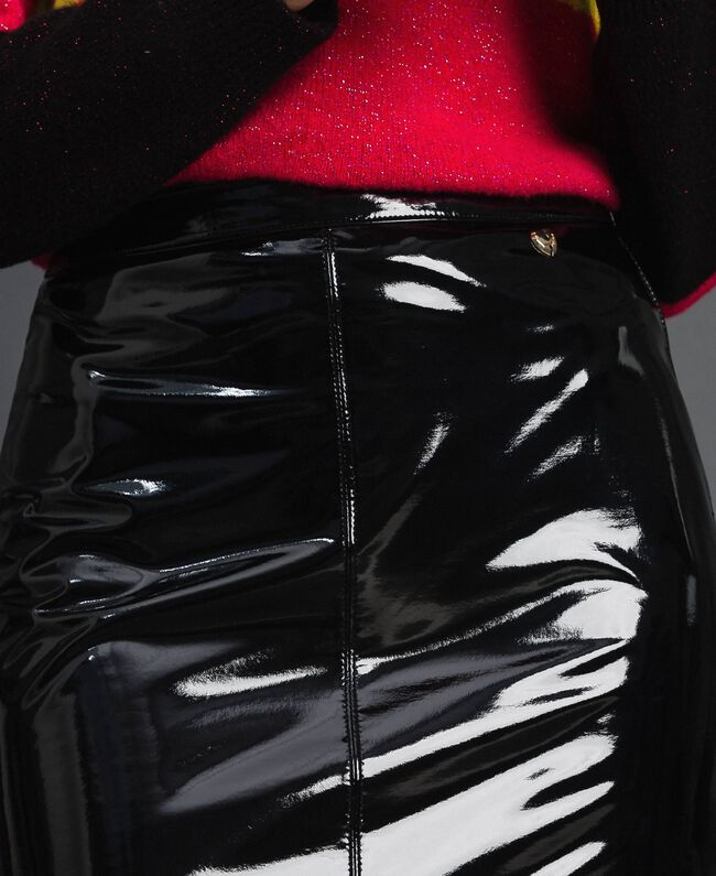 Jupe mi-longue en similicuir effet verni Noir Femme 192MT2091-04