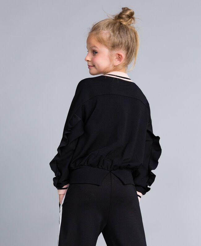Sweat en tissu technique avec logo Bicolore Noir / Rose «Blush» Enfant GA82PN-03