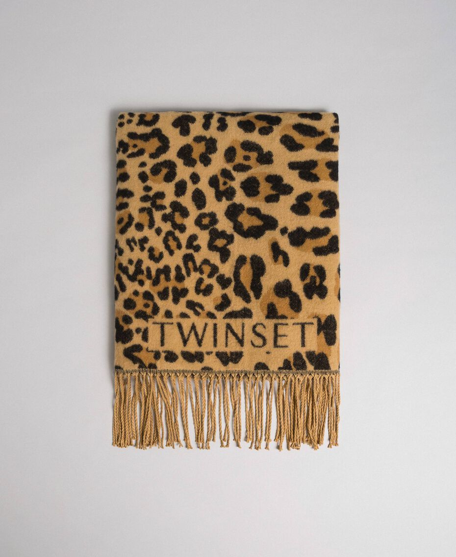 Jacquard scarf with fringes and logo Maxi Animal Print Woman 192TO5381-02