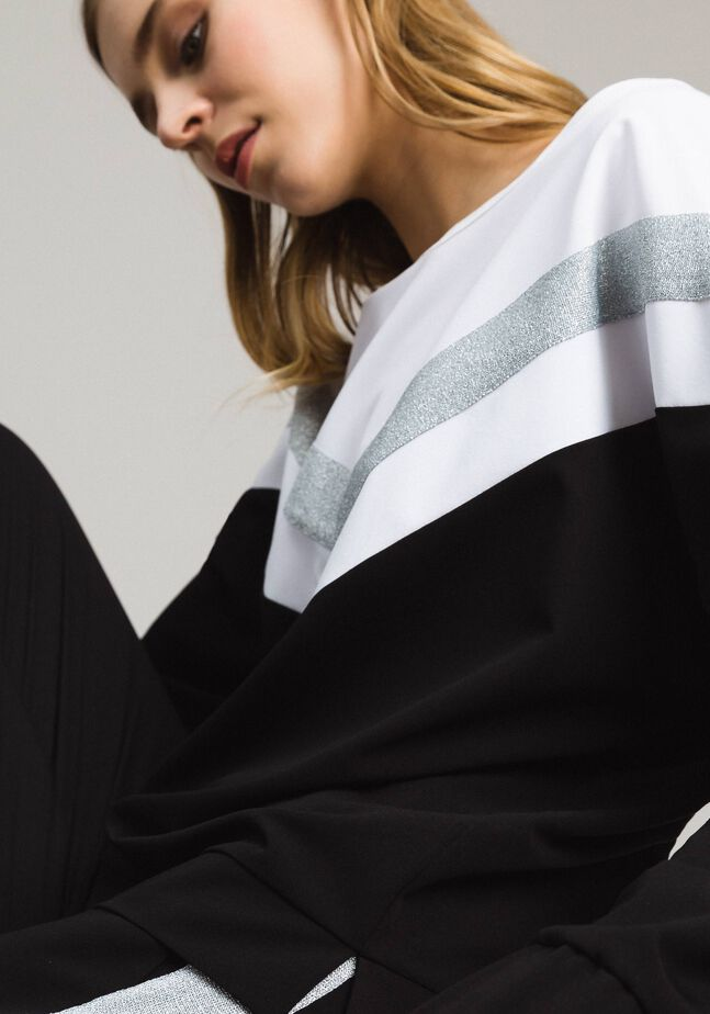 Gabardine sweatshirt with lurex insert