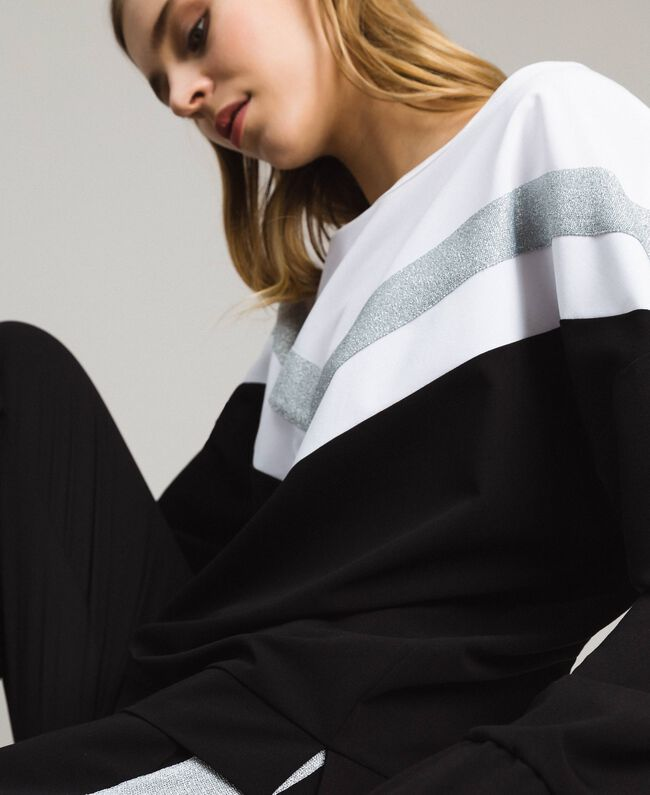 Gabardine sweatshirt with lurex insert Two-tone Black / Optical White Woman 191LL25EE-01