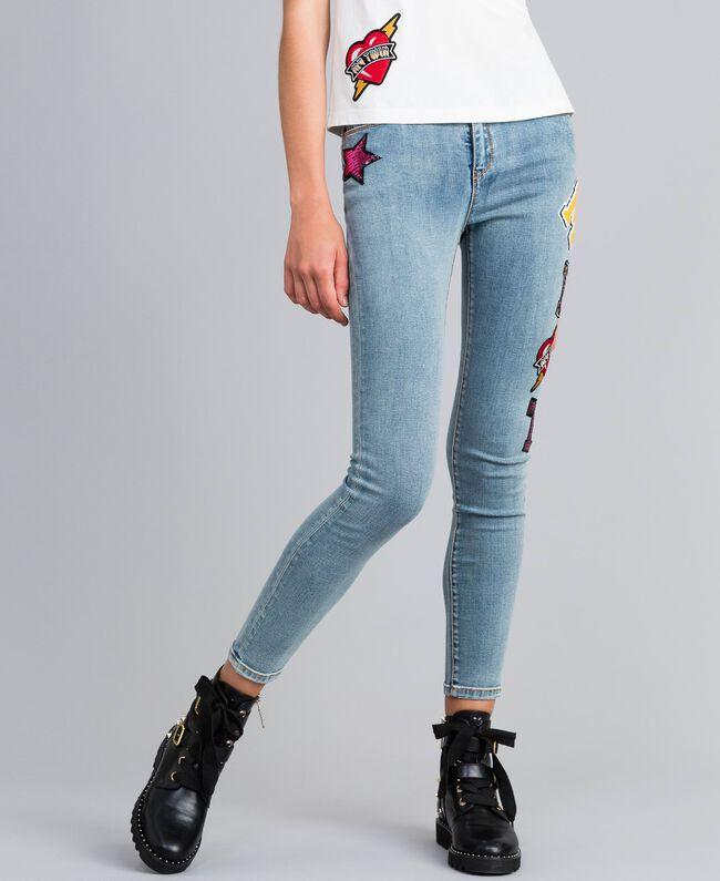 Jean skinny en denim avec patchs Bleu Denim Femme YA82Y1-01