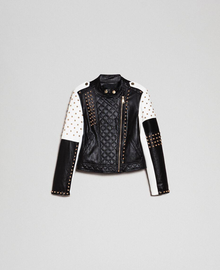 Blouson perfecto en similicuir avec clous Bicolore Noir / Lys Femme 192MT2040-0S