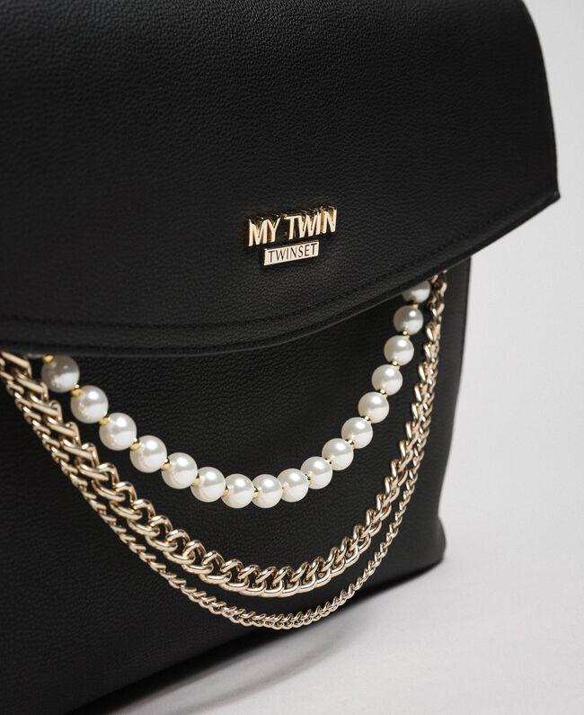Shopper aus Lederimitat mit Perlen und Kettchen Schwarz Frau 192MA7053-04