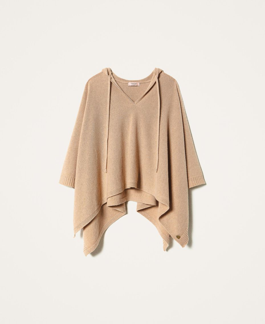 """Wool and cashmere poncho """"Pastel Skin"""" Beige Woman 202TT3013-0S"""