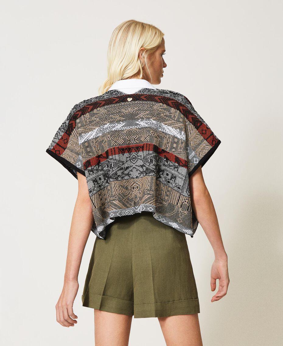 Jacquard cardigan with fringes Multicolour Jacquard Textured Woman 211TT3270-03