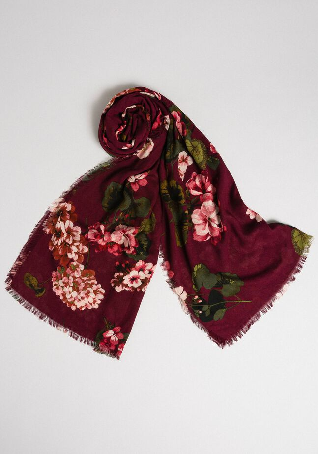 Écharpe avec imprimé floral et logo