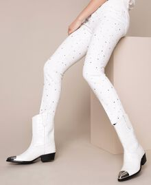 "Leather Texas boots with crocodile print ""Snow"" White Crocodile Print Woman 201TCP040-0S"