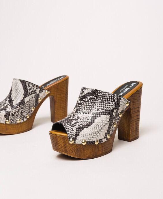 Туфли-сабо из искусственной кожи с животным принтом