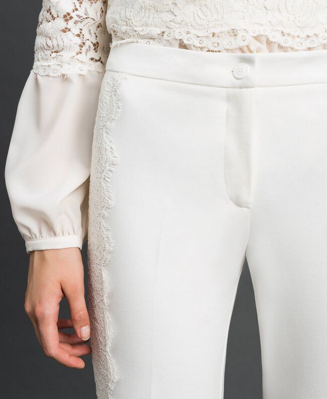 release info on outlet boutique wholesale dealer Cropped trousers with lace Woman, White | TWINSET Milano