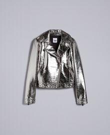 Jacke aus Metallic-Lederimitat Gewehrlauf Grau Frau YA82BN-0S