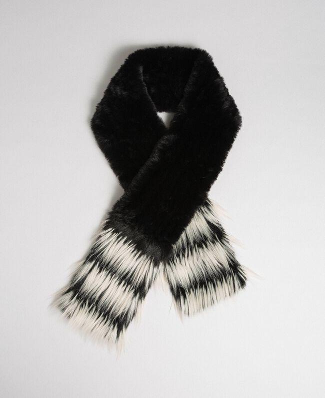 Two-tone faux fur stole Black Woman 192TA4400-01