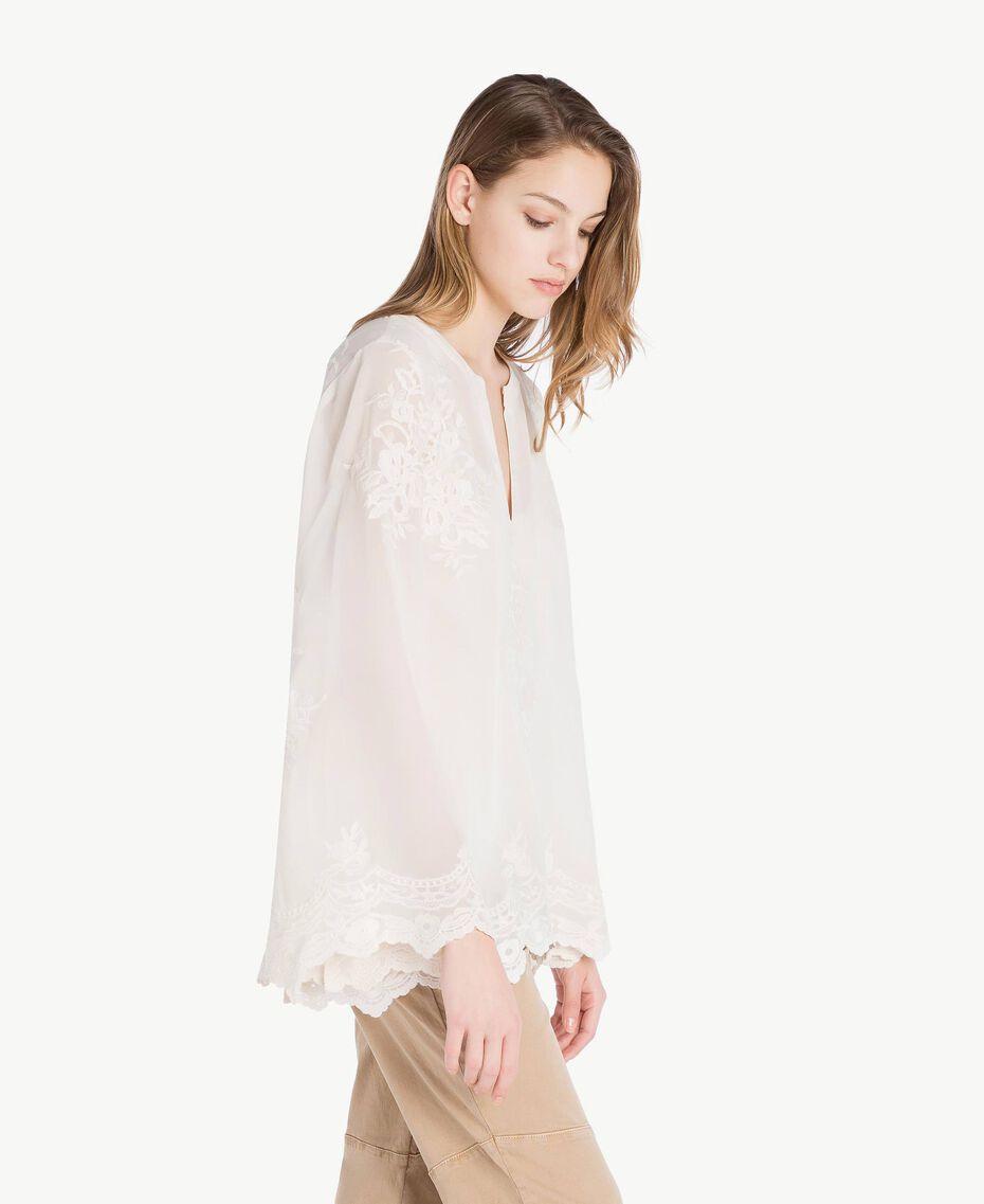 Bluse mit Stickerei Elfenbein Frau SS82JA-02