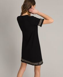 Embroidered linen blend dress with fringed trim Black Woman 191TT3050-03