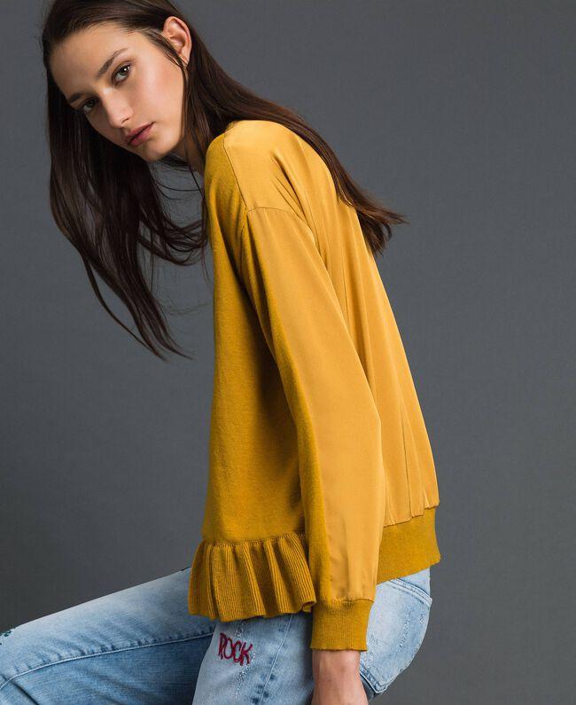 Boxy jumper with asymmetric flounce Saffron Yellow Woman 192MP3193-01