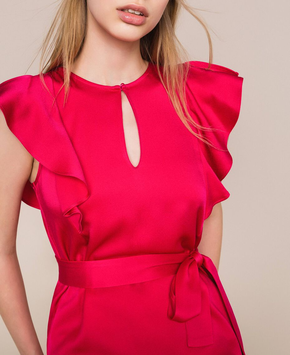 Long dress with frilled sleeves Black Cherry Woman 201TP2284-05