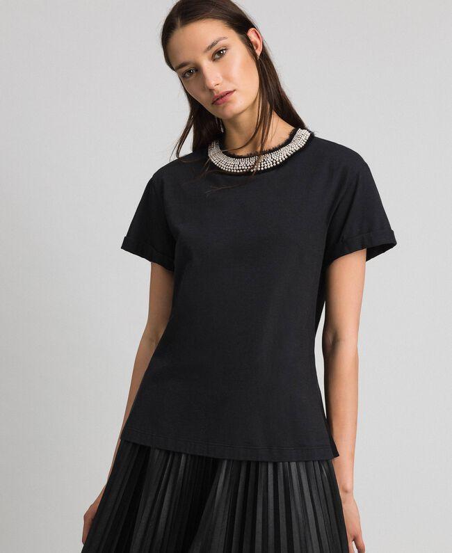 T-shirt avec col bijou parsemé de perles Noir Femme 192TT2562-01
