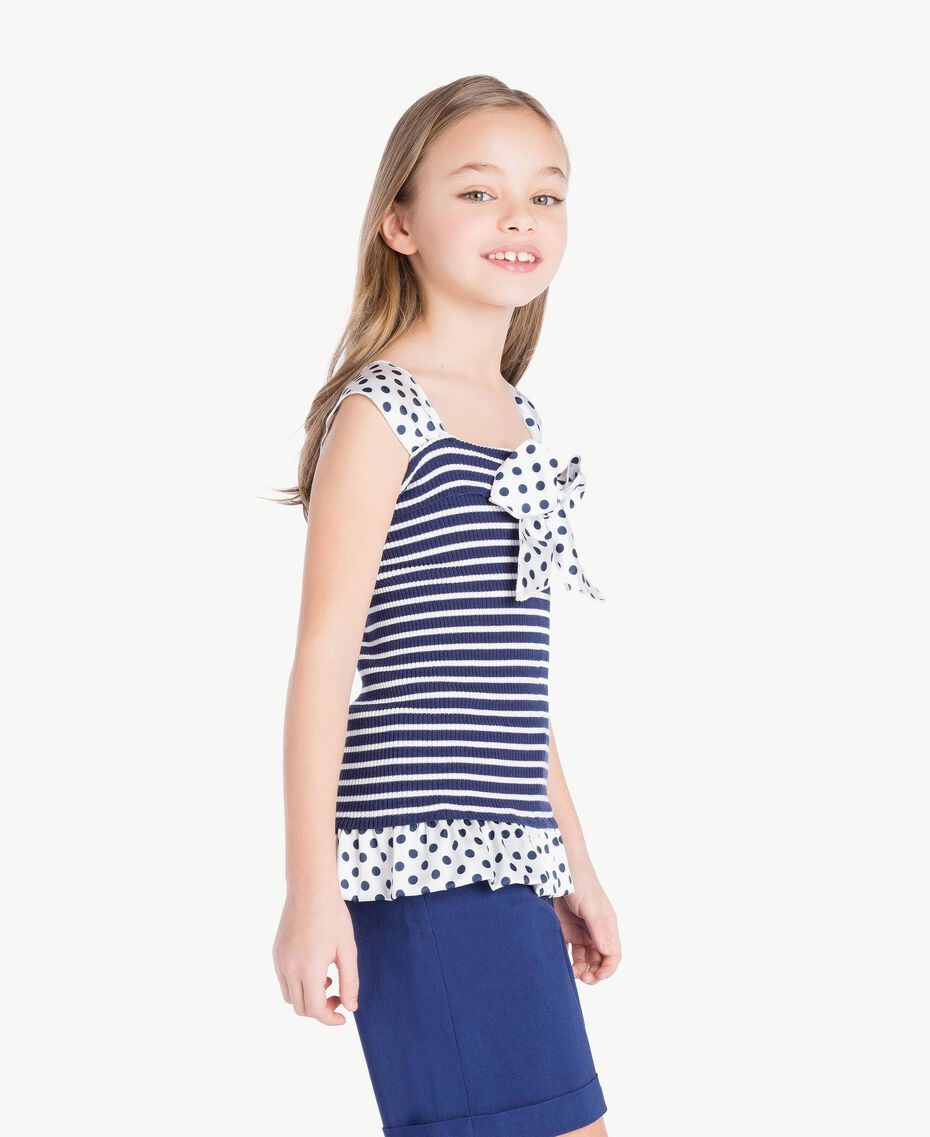 "Striped top Ocean Blue / ""Papyrus"" White Stripes / Flower Print Child GS83BB-03"
