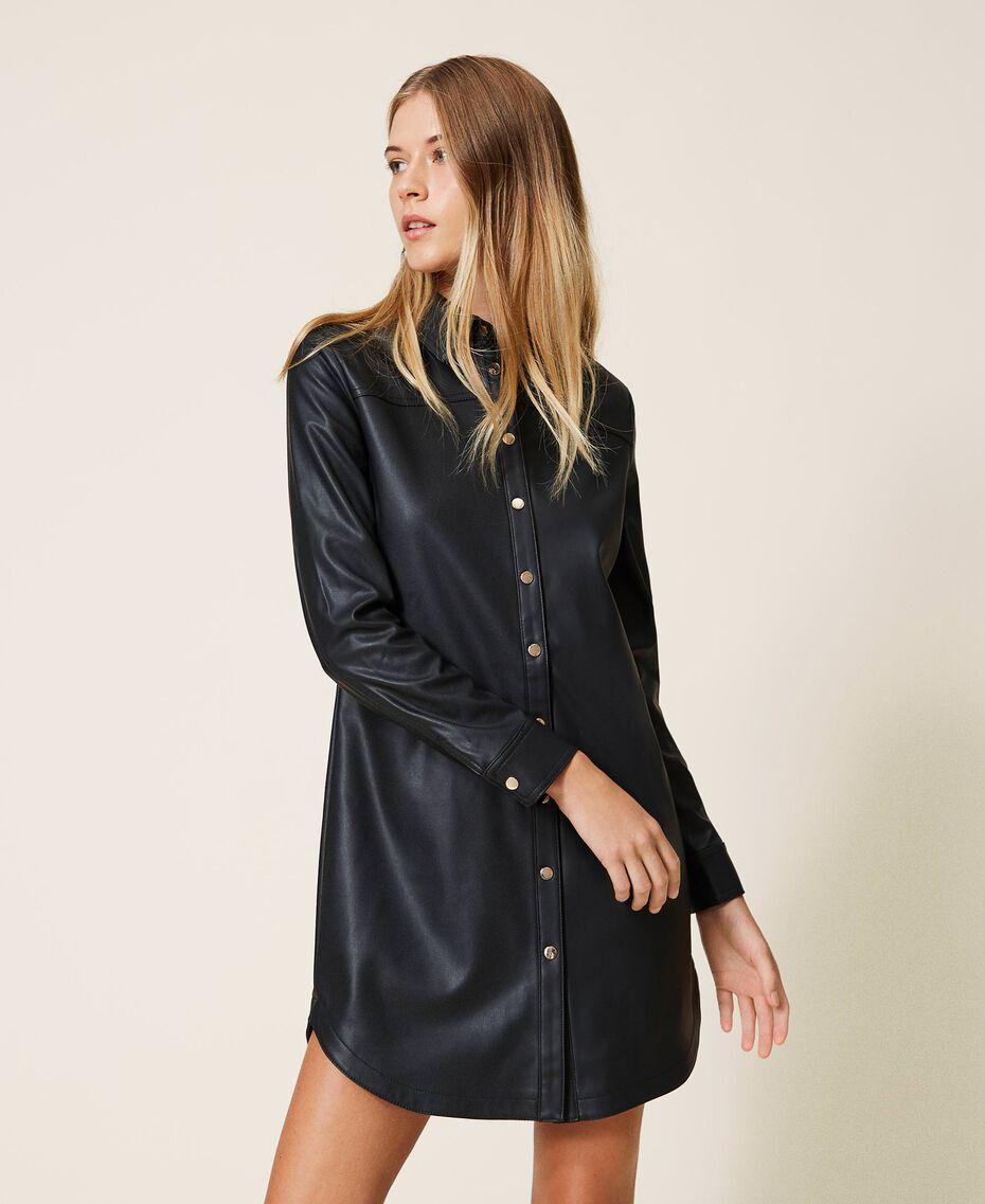Faux leather shirt dress Black Woman 202LI2GEE-01