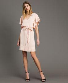 "Satin dress with belt ""Rose Sand"" Pink Woman 191TT2450-01"