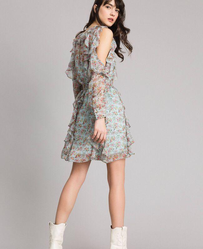 Kleid aus geblümtem Georgette mit Rüschen Motiv Aquamarin Bouquet Frau 191TP2573-03