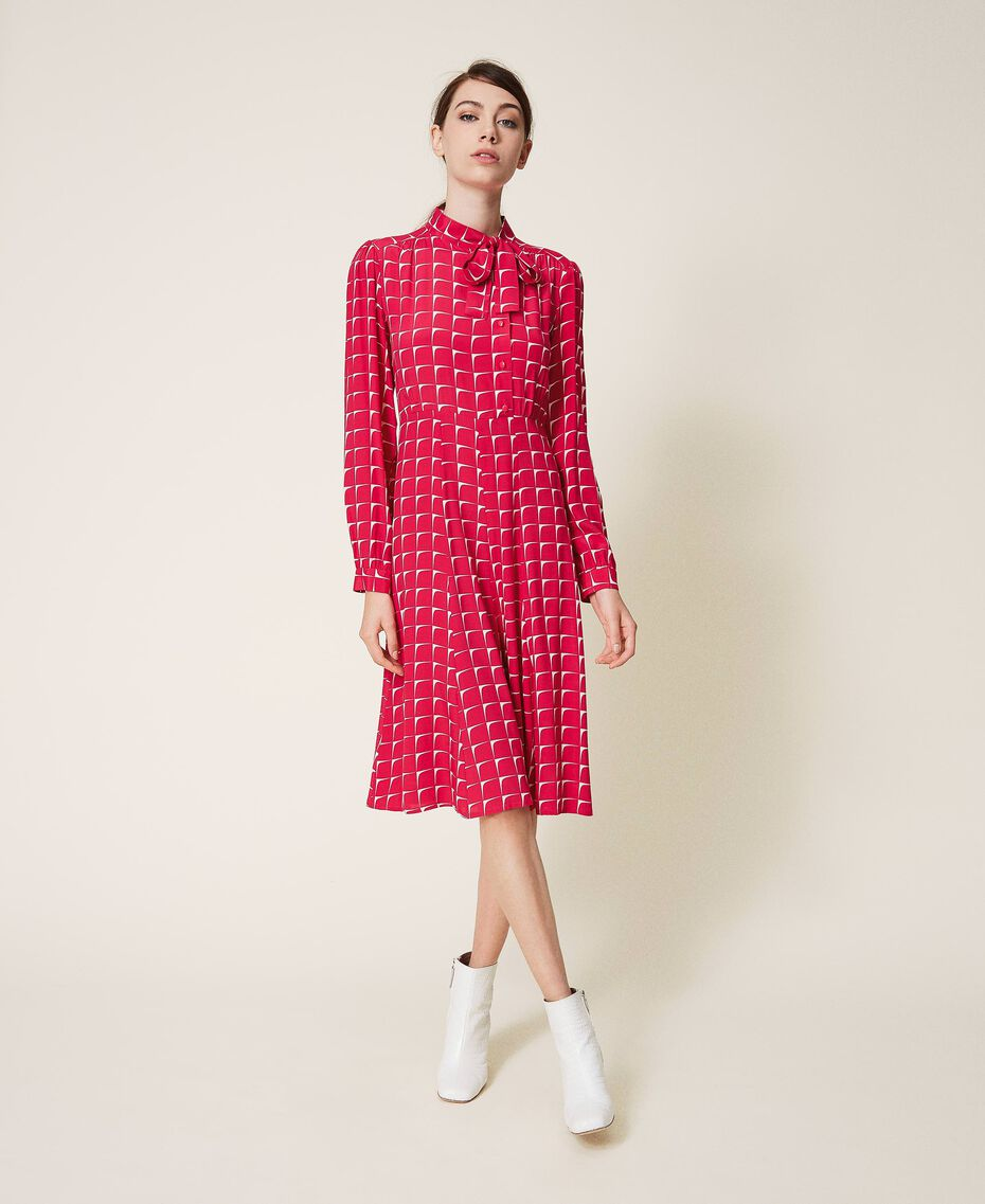 "Crêpe de Chine shirt dress with bow ""Cerise"" Fuchsia /""Dew"" White Optical Print Woman 202ST2502-01"
