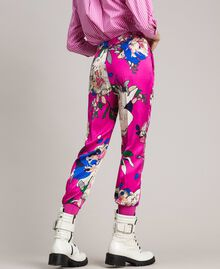 Floral satin jogging trousers Wind Flower Pink Print Woman 191TP2473-04